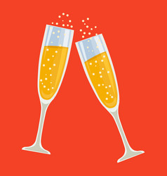 clink champagne glasses vector image