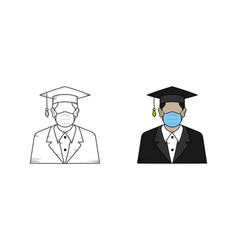 college student hand drawn sketch and color vector image