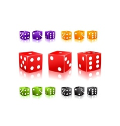 Colorful Dices with white dots icon set vector image