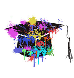 Colorful mortarboard cap vector