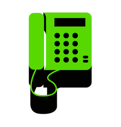 communication or phone sign green 3d icon vector image