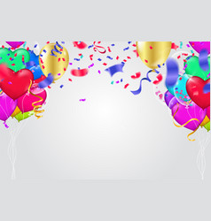 Confetti colorful balloon and flag ribbons over vector