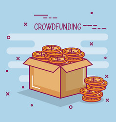 Crowdfunding business cooperation box coin dollar vector