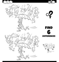 Differences coloring game with cats and dogs vector
