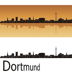 Dortmund skyline in orange background vector