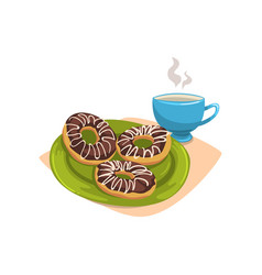Doughnut with chocolate glaze on green plate and vector