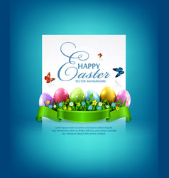 Easter eggs with grass and flowers vector