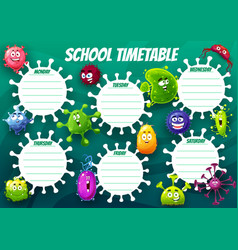 education school timetable cartoon virus cells vector image