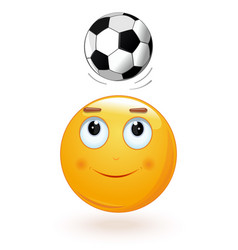 emoticon face bumping soccer ball on its head vector image