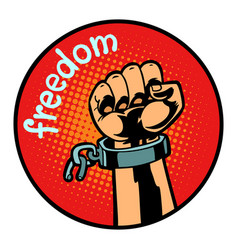 freedom hand torn chain icon symbol circle emblem vector image
