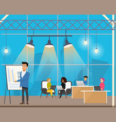 Freelancer making presentation in shared workplace vector