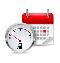 Fuel indicator and calendar vector image