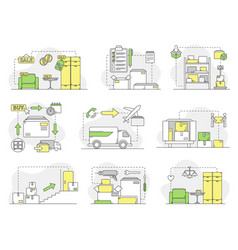 Furniture buying delivery and assembling line vector
