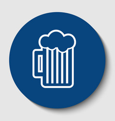 Glass of beer sign white contour icon in vector