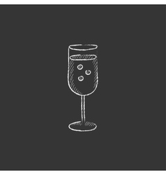 Glass of champagne Drawn in chalk icon vector image