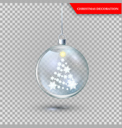 glass transparent christmas decoration with new vector image