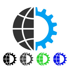 Global industry flat icon vector