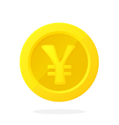 gold coin japanese yen or chinese yuan in flat vector image