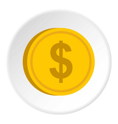 Gold coin with dollar sign icon circle vector