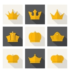Golden crowns icons vector