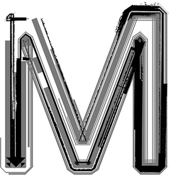 Grunge font letter m vector