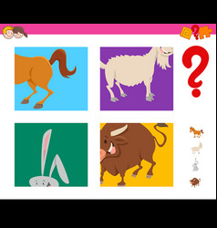 Guess cartoon farm animals task for children vector