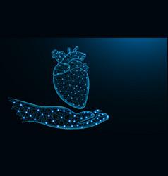 hand and human heart low poly design human organ vector image