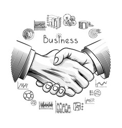 hand drawn business partnership concept vector image
