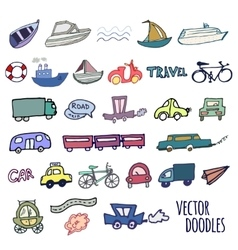 Hand-drawn doodle-style cars ships and bicycle vector image