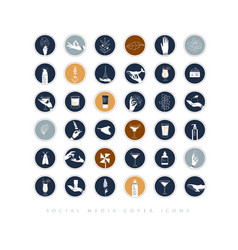 Hands and cosmetics social media cover icons blue vector