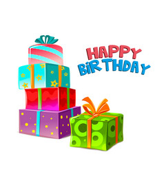 happy birthday colorful gift boxs background vector image