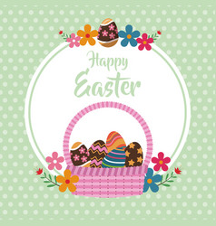 happy easter basket egg floral dots background vector image