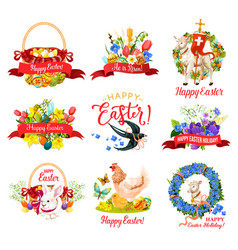 happy easter holiday icon for greeting card design vector image