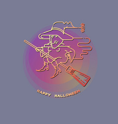 happy halloween card with witch on a broom vector image
