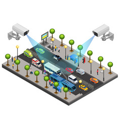 isometric city security system concept vector image