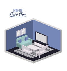 isometric floor plan of lounge room with carpet vector image