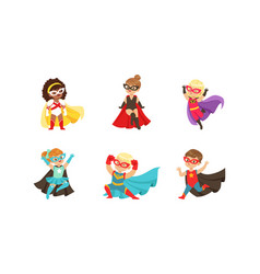 Kid superheroes collection cute happy boys and vector