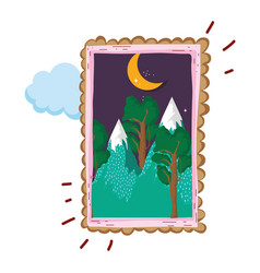 Landscape with snow mountain square frame on night vector