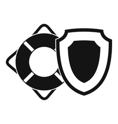Lifebuoy and safety shield icon flat style vector