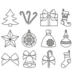 Line art black and white 12 christmas elements set vector