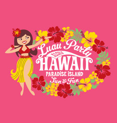 Luau party hawaii paradise island vector