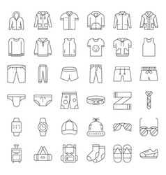 male clothes and accessories thin line icon set 2 vector image