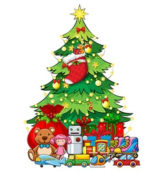 Many toys under Christmas tree vector