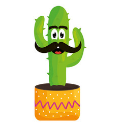 mexican cactus with mustache emoji character vector image