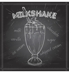 Milkshake scetch on a black board vector image