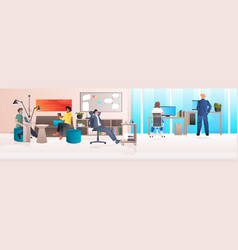 mix race businesspeople working in modern office vector image