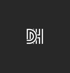 monogram overlapping letters initials dh logo vector image