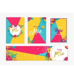 mother day paper card and label set in portuguese vector image