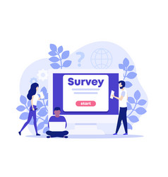 Online survey with people vector