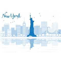 Outline New York city skyline with blue buildings vector
